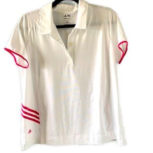 Adidas golf white/ pink striped climalite shirt XL